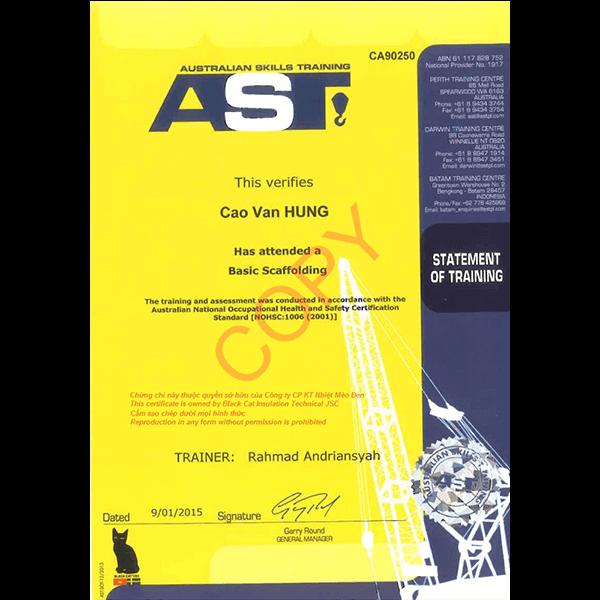 AST certificate