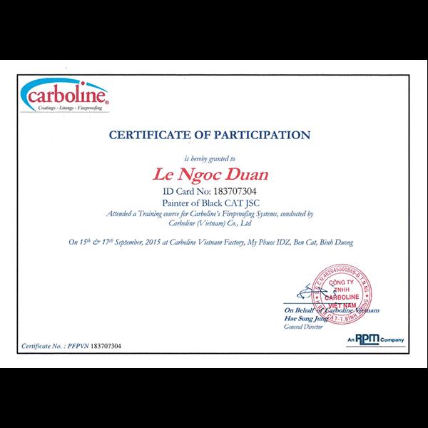Carboline certificate