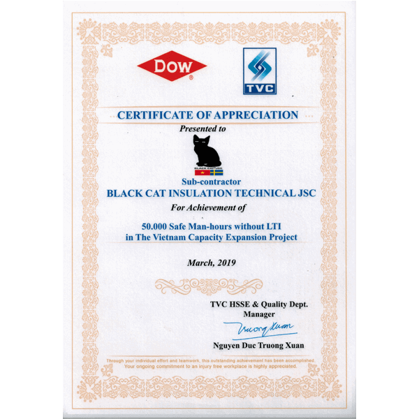 CERTIFICATE OF APPRECIATION - DOW & TVC - SAFETY